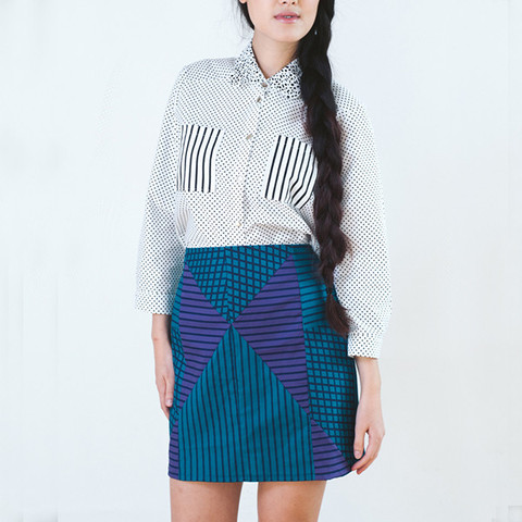 Monochrome Checkerboard Mini Skirt by Loela                           | The Little Deer