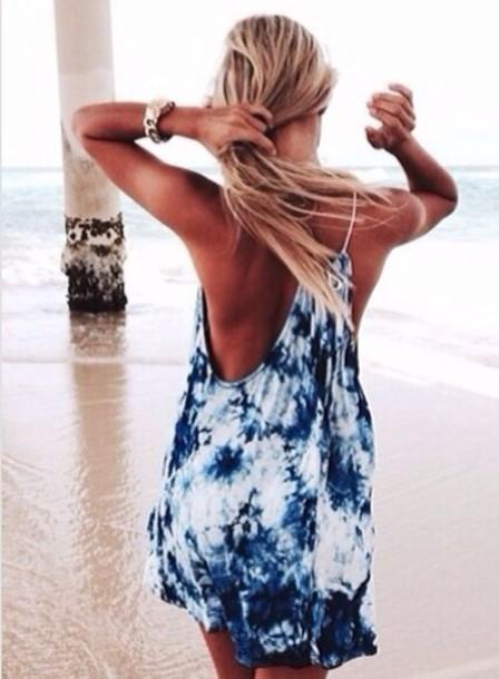 dress loose cover up tie dye tan blonde beach wheretoget. Black Bedroom Furniture Sets. Home Design Ideas