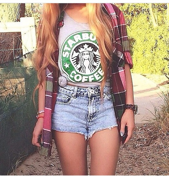 shorts t-shirt starbucks logo shirt top starbucks coffee clothes checked shirt