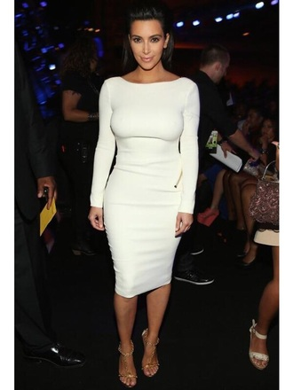 dress white backless knee length dress white dress long sleeve dress