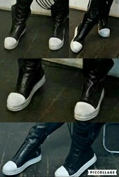 shoes,no shoelaces,mason martin margiela look a like,mason martin margiela look,leather,white toe,round toe,high tops,black and white,sneakers