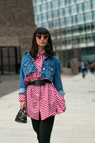 shirt london fashion week 2017 fashion week 2017 fashion week streetstyle checkered red shirt jacket blue jacket denim jacket cropped jacket pants black pants sunglasses heart sunglasses bag mini bag black bag earrings accessories accessory