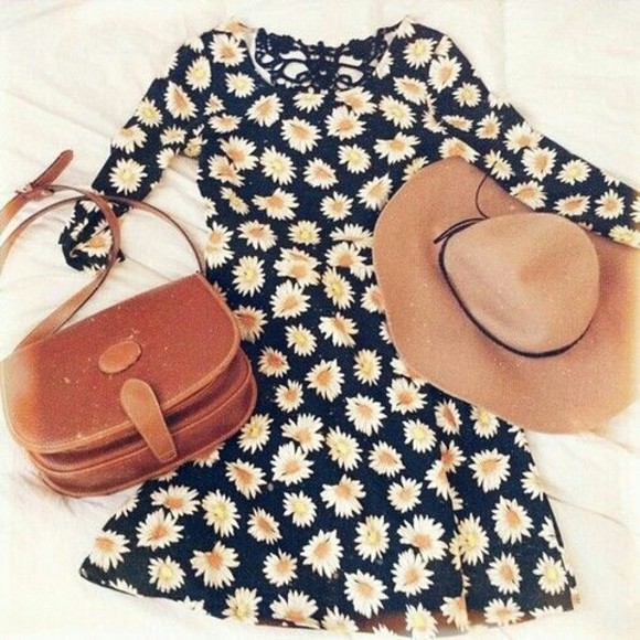 white flowers dress sundress summer summer dress brown bag bag hat outfit brown leather bag leather brown hat summer hat lace lace back daisy black little black dress yellow summer outfits ootd