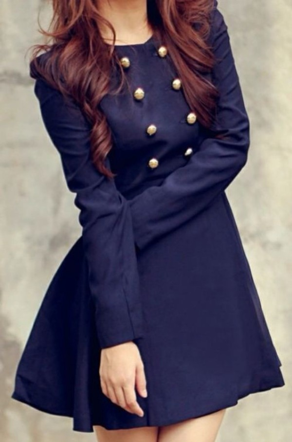 Elegant Trench Coat Dress Navy Blue Military Style - La Paix
