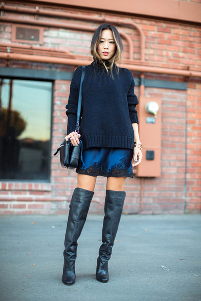Sweater Sweater Over Dress Blue Sweater Mini Dress Slip Dress