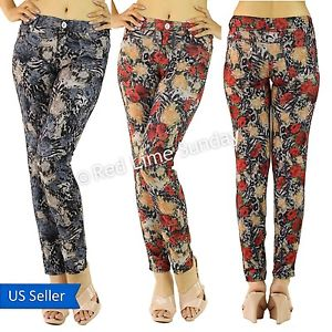 New women animal leopard floral print red navy casual pants jeggings leggings