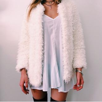 coat fur furry coat dress white cream knee high necklace knee high socks jewels bracelets fur coat
