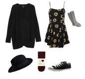 dress,flowers,black,in love,yellow,yellow dress,black dress,cardigan,black boots,where did u get that,cute dress,i wear yellow for the cure,cute shoes,cute outfits,cute  outfits,tumblr outfit,tumblr girl