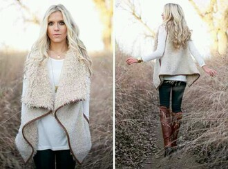 cardigan wool vest cream color brown trim