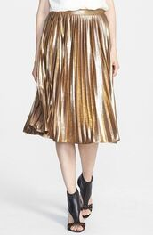 skirt,gold,pleated skirt,gold skirt,metallic,metallic skirt,midi skirt,metallic pleated skirt