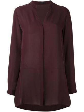 shirt collar shirt women silk purple pink top