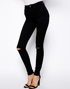 ASOS | ASOS Ridley High Waist Ultra Skinny Jeans in Clean Black with Two Knee Rips at ASOS