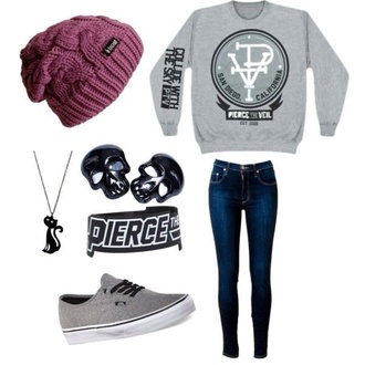 hat pierce the veil sweater vans cute outfits back to school skull beanie