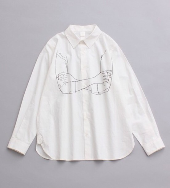 cool print blouse white t-shirt minimalist suit white blouse drawing look like a acne or something t-shirt black tumblr outfit winter sweater teen choice awards white shirt arms crossed illustration button up blouse style shirt fashion arm cross draw menswear mens shirt hipster jacket sweatshirt-arms pale aesthetic tumblr indie collared shirt collar