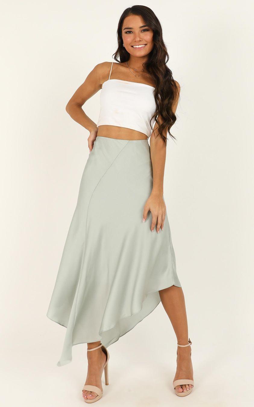 Showpo Know Your Boundaries skirt in mint satin - 10 (M) Midi Skirts