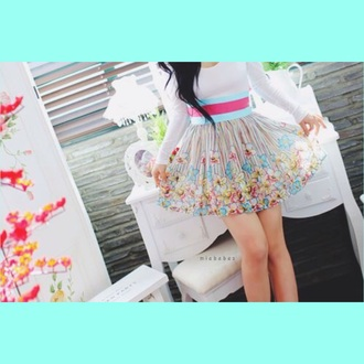 skirt flower skirt short skirt circle skirt multicolor skirt floral multicolor
