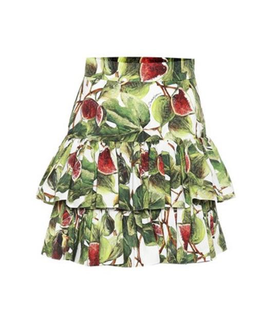 Dolce & Gabbana Fig cotton poplin miniskirt in green