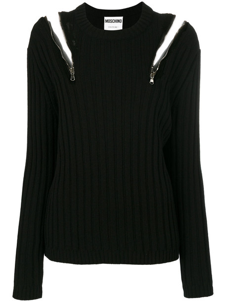 sweater zip women cold black wool