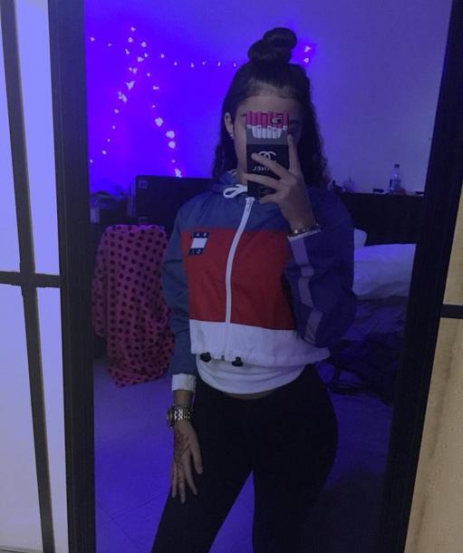 jacket blue and white malu trevejo cropped jacket