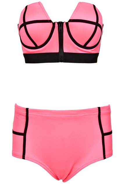 ROMWE | Dual-tone Rose Bandeau Set, The Latest Street Fashion