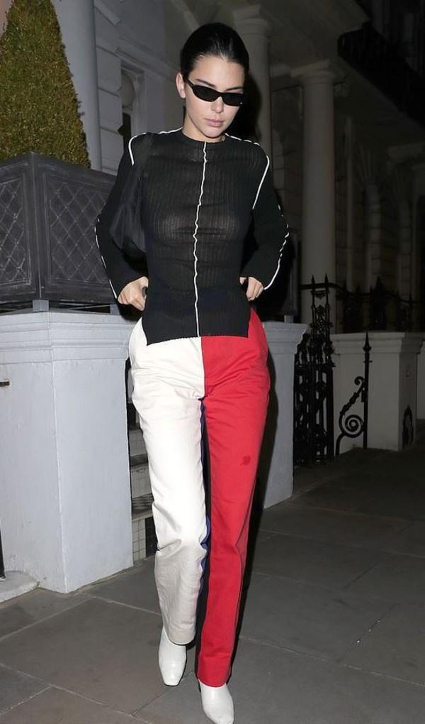 pants kendall jenner model off-duty fashion week kardashians asymmetrical