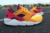 shoes,nike,nike air,huarache,bright sneakers,orange