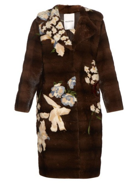Valentino coat japanese floral brown