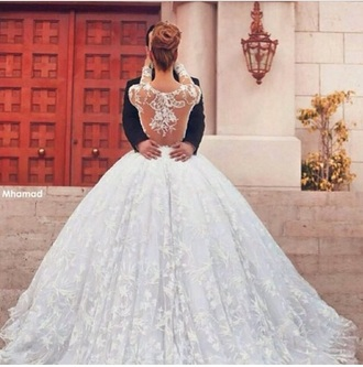 wedding dress white dress white high-low dresses long sleeve dress long prom dress cute dress lace dress lace wedding dresses lace up