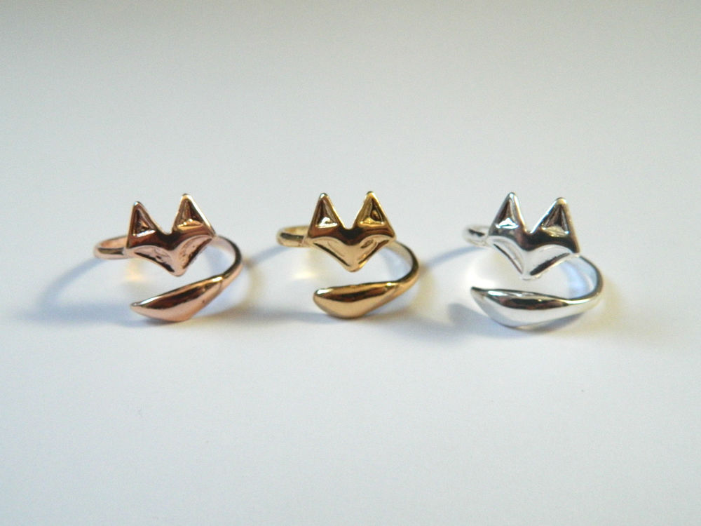 Cute Silver, Gold or Rose Gold Fox Wrapping Ring Adjustable | eBay