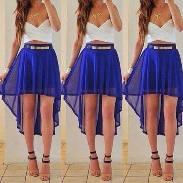 dress white crop tops gold belt skirt flowy skirt blue cute pretty tumblr girly hipster indie necklace white crop tops blue skirt gold belt tumblr clothes blue white sleeveless white top casual summer summer outfits cute dress shirt blue and white