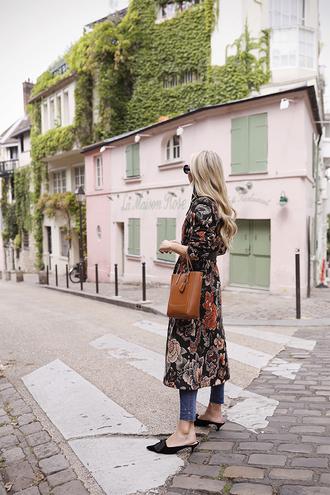 coat tumblr long coat floral floral coat denim jeans shoes mules black shoes bag