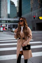 maria vizuete,mia mia mine,blogger,coat,shirt,shoes,bag,sunglasses,gucci belt,gucci bag,camel coat,fall outfits