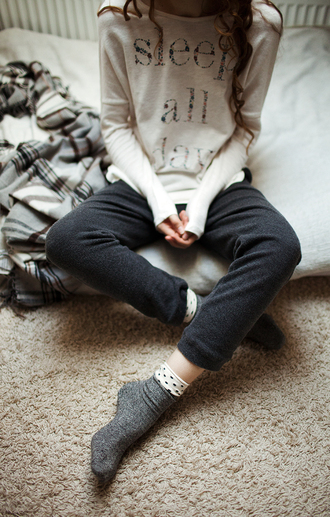 sleep all day long sleeve shirt lazy day comfy sweater clothes pajamas sleep nightwear oversized sweater tumblr girly sleeper grey sweatshirt graphic tee white