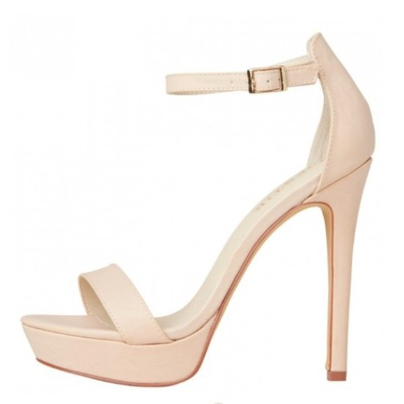 shoes sandal ankle strap nude stone stiletto creme cream thin heel high heels