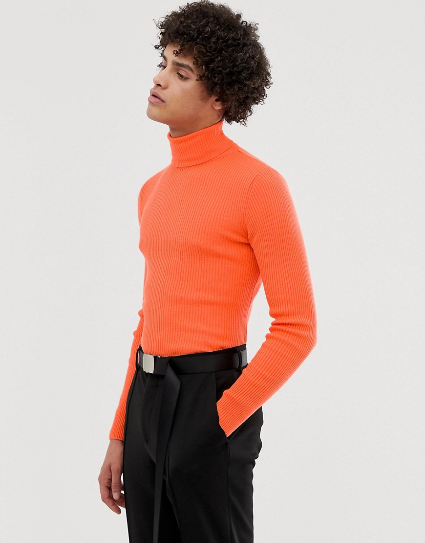 ASOS DESIGN muscle fit ribbed roll neck jumper in neon orange