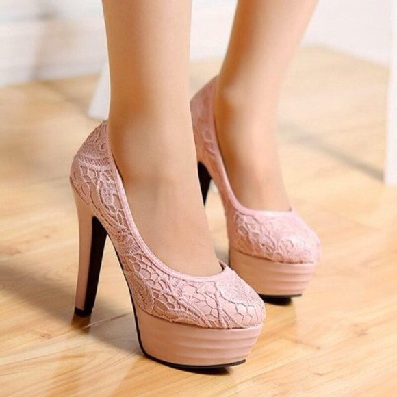 shoes pumps pink high heels lace pumps