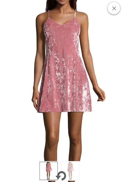 dress pink velvet velvet dress spaghetti strap slip dress small xs
