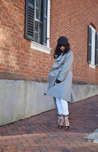 mysmallwardrobe blogger coat shirt jeans shoes bag sunglasses grey coat white pants high heel pumps