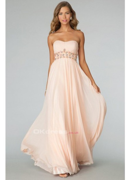 dress pearl pink chiffon prom dress prom dress wheretoget