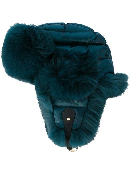 fur hat blue