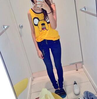 shoes t-shirt cute jeans clothes yellow tank top adventure time dog jake the dog hipster tv series muscle tee blogger