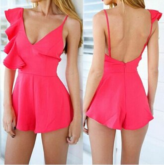 romper hot pink summer cute dress straps short sexy ruffle fashion style outfit