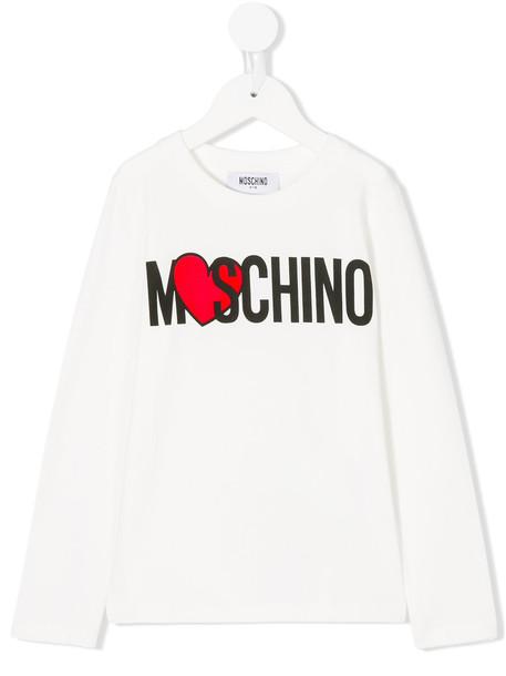 Moschino Kids top heart spandex white cotton