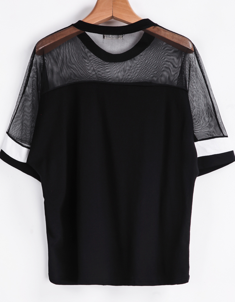 Black Contrast Sheer Mesh Yoke ARMY Print T-Shirt - Sheinside.com
