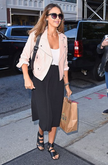 jacket leather jacket jessica alba shoes sandals