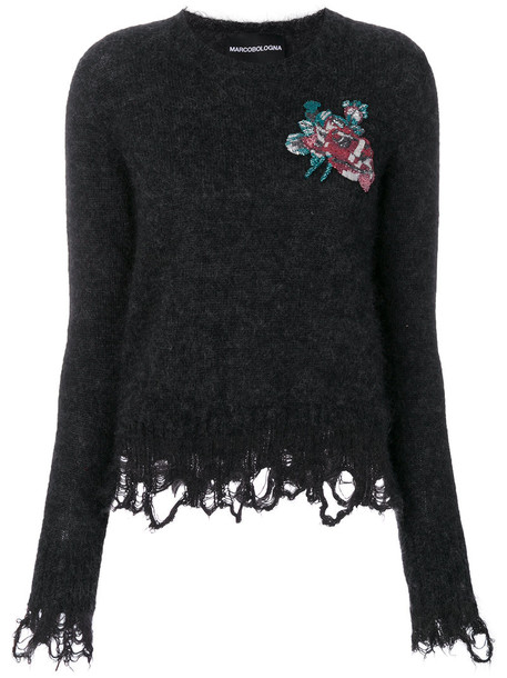 Marco Bologna top knitted top embroidered women mohair wool grey