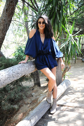 romper,navy,ankle boots,shay mitchell,sunglasses,summer outfits,summer dress