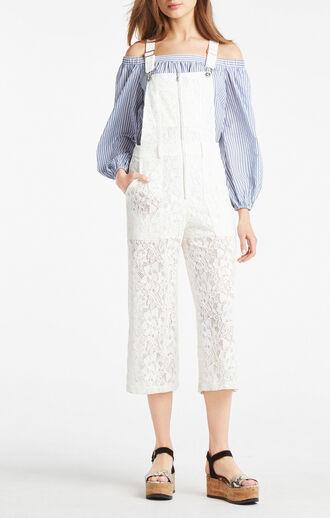 jumpsuit white white overalls white lace white lace overalls lace overalls bcbg