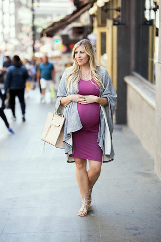 raspberry glow blogger dress shoes jewels bag handbag cardigan maternity dress maternity sandals purple dress