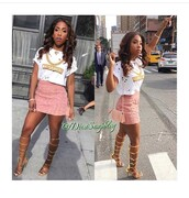 skirt,sevyn streeter,outfit,outfit idea,summer outfits,cute outfits,spring outfits,date outfit,party outfits,style,stylish,fashion,trendy,streetwear,streetstyle,clubwear,clubbing  shoes,clothes,mini skirt,high waisted skirt,pink skirt,top,white top,summer top,cute top,shirt,white shirt,chain,gold chain,necklace,gold necklace,purse,bag,shoes,sexy shoes,party shoes,summer shoes,cute high heels,cute shoes,cute skirt,high heels,heels,sandal heels,strappy heels,knee high